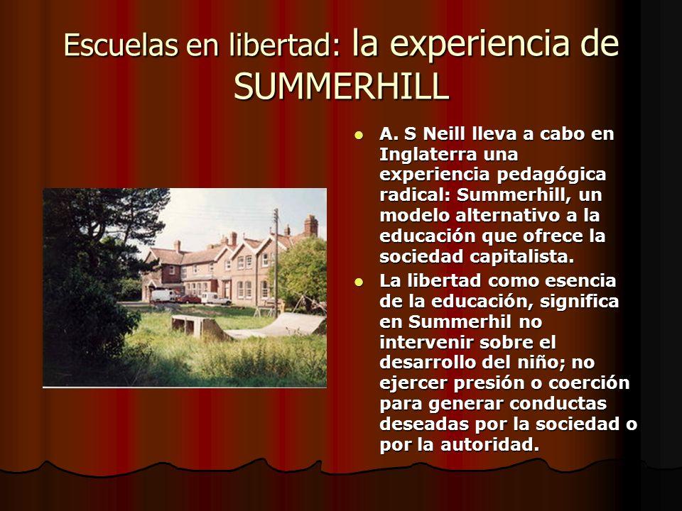 Escuelas en libertad: la experiencia de SUMMERHILL A. S Neill lleva a cabo en Inglaterra una experiencia pedagógica radical: Summerhill, un modelo alt
