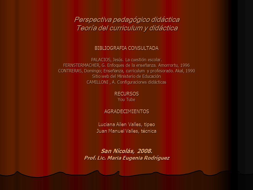 Perspectiva pedagógico didáctica Teoría del curriculum y didáctica BIBLIOGRAFIA CONSULTADA PALACIOS, Jesús. La cuestión escolar. FERNSTERMACHER, G. En