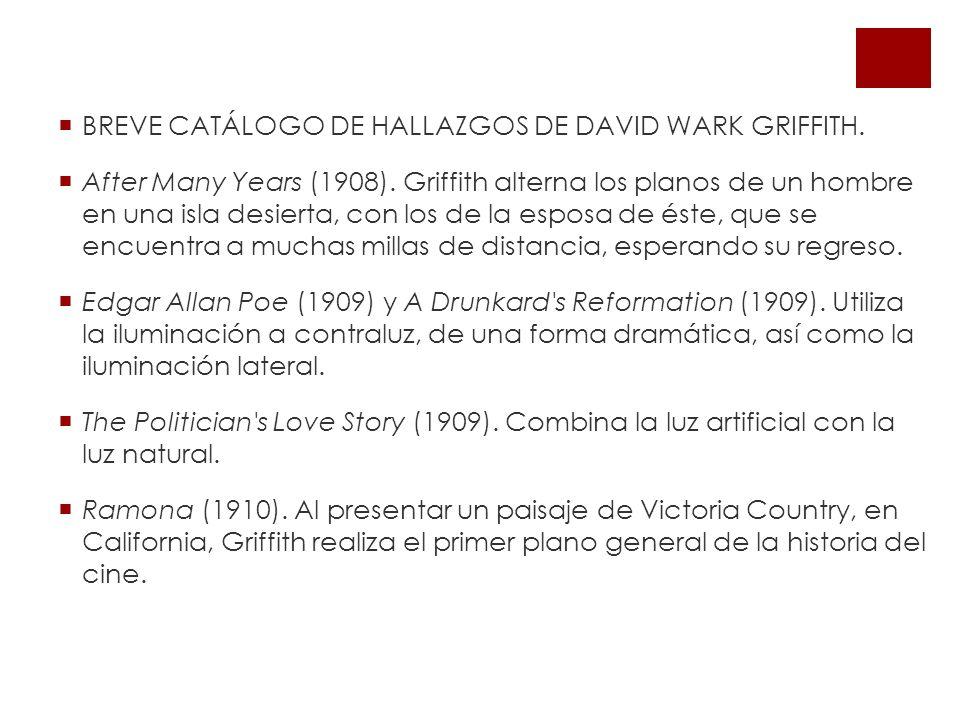 BREVE CATÁLOGO DE HALLAZGOS DE DAVID WARK GRIFFITH.
