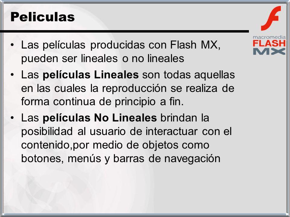 Las películas producidas con Flash MX, pueden ser lineales o no lineales Las películas Lineales son todas aquellas en las cuales la reproducción se re