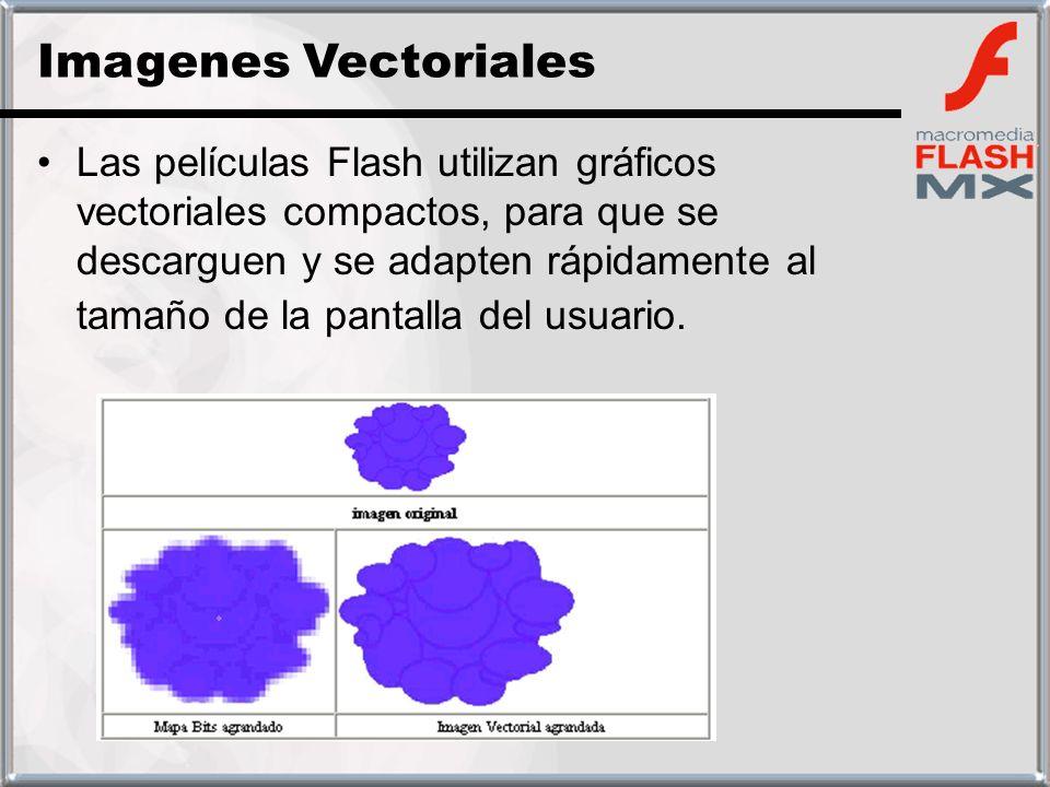 Las películas Flash utilizan gráficos vectoriales compactos, para que se descarguen y se adapten rápidamente al tamaño de la pantalla del usuario. Ima