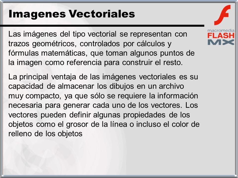 Las imágenes del tipo vectorial se representan con trazos geométricos, controlados por cálculos y fórmulas matemáticas, que toman algunos puntos de la