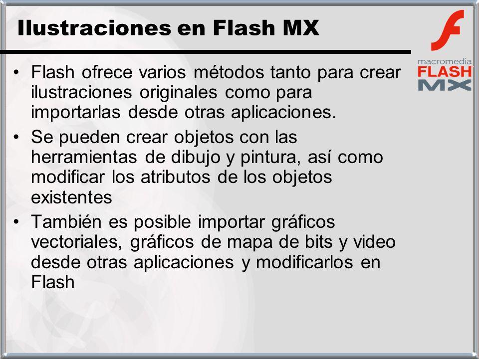 Flash ofrece varios métodos tanto para crear ilustraciones originales como para importarlas desde otras aplicaciones. Se pueden crear objetos con las