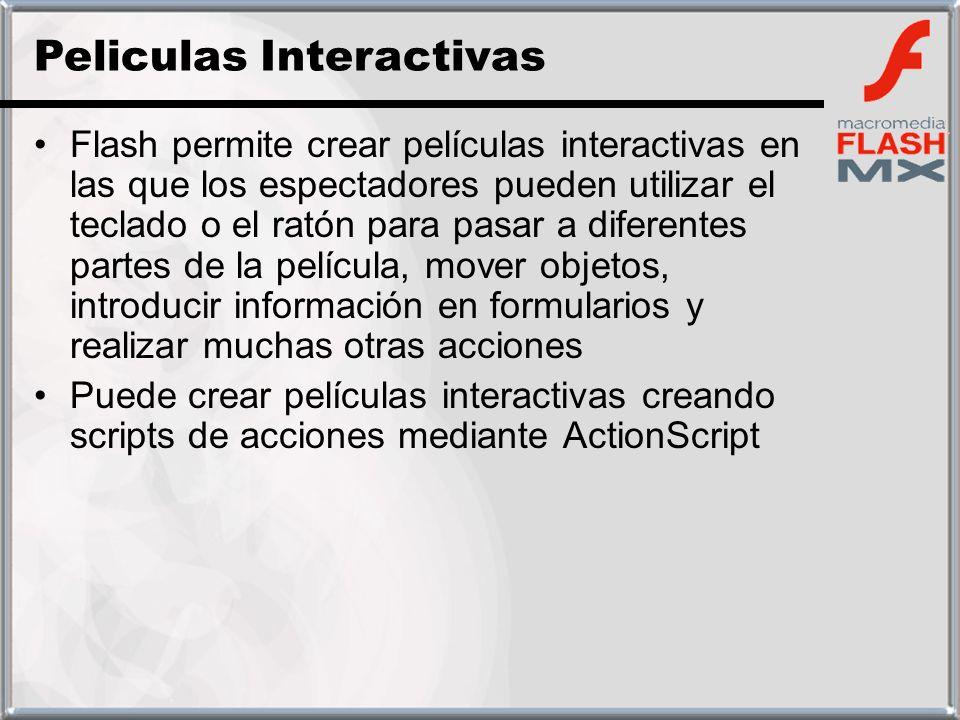 Flash permite crear películas interactivas en las que los espectadores pueden utilizar el teclado o el ratón para pasar a diferentes partes de la pelí