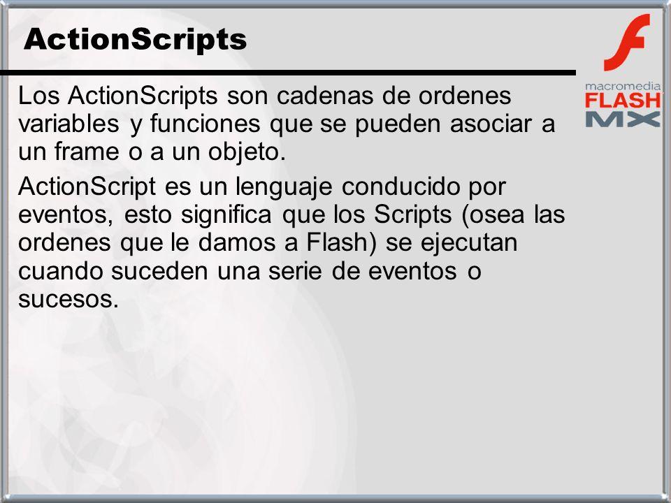 Los ActionScripts son cadenas de ordenes variables y funciones que se pueden asociar a un frame o a un objeto. ActionScript es un lenguaje conducido p
