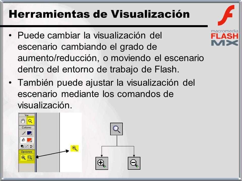 Puede cambiar la visualización del escenario cambiando el grado de aumento/reducción, o moviendo el escenario dentro del entorno de trabajo de Flash.