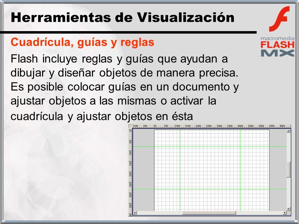 Cuadrícula, guías y reglas Flash incluye reglas y guías que ayudan a dibujar y diseñar objetos de manera precisa. Es posible colocar guías en un docum