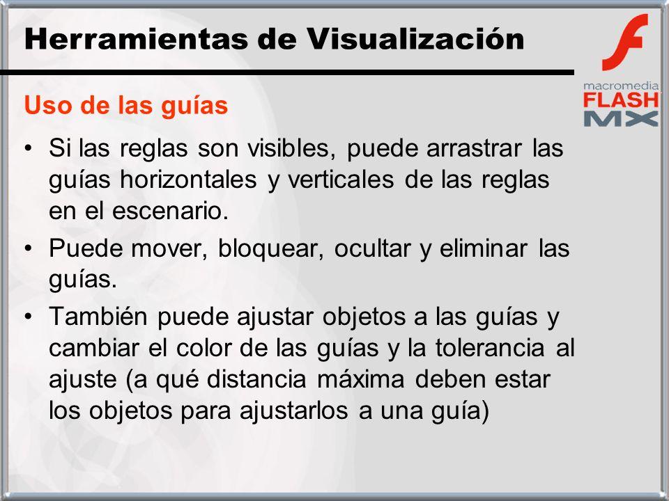 Uso de las guías Si las reglas son visibles, puede arrastrar las guías horizontales y verticales de las reglas en el escenario. Puede mover, bloquear,