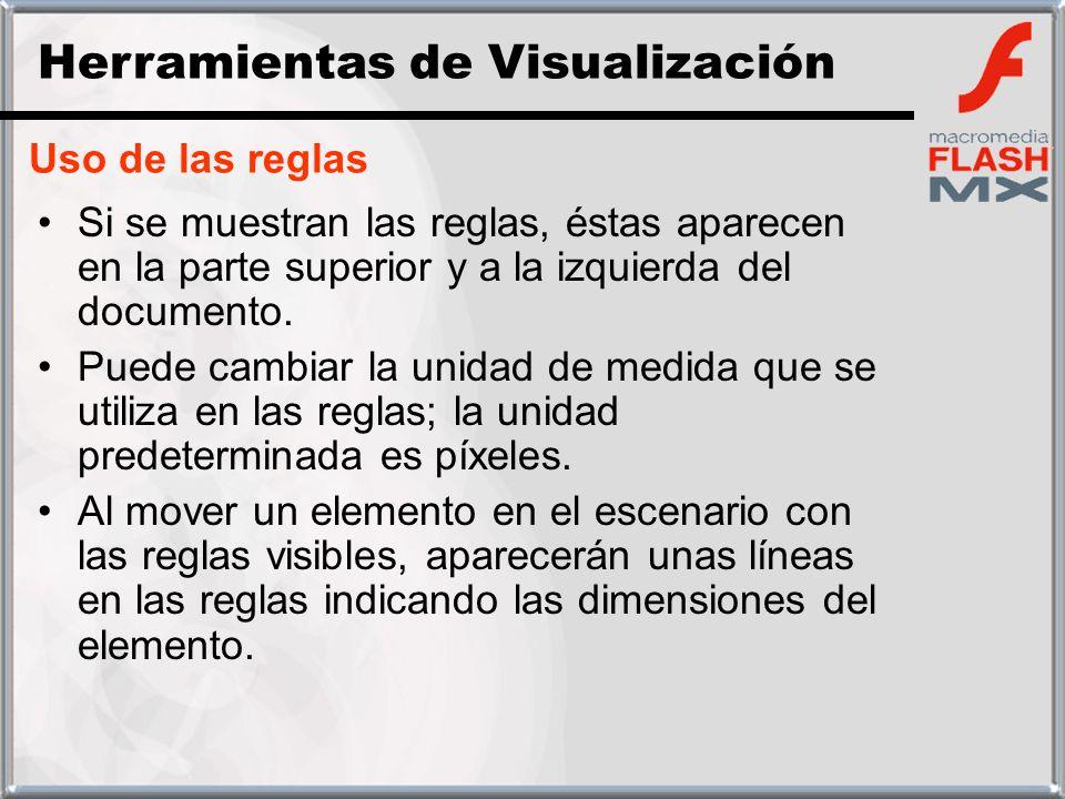 Uso de las reglas Si se muestran las reglas, éstas aparecen en la parte superior y a la izquierda del documento. Puede cambiar la unidad de medida que
