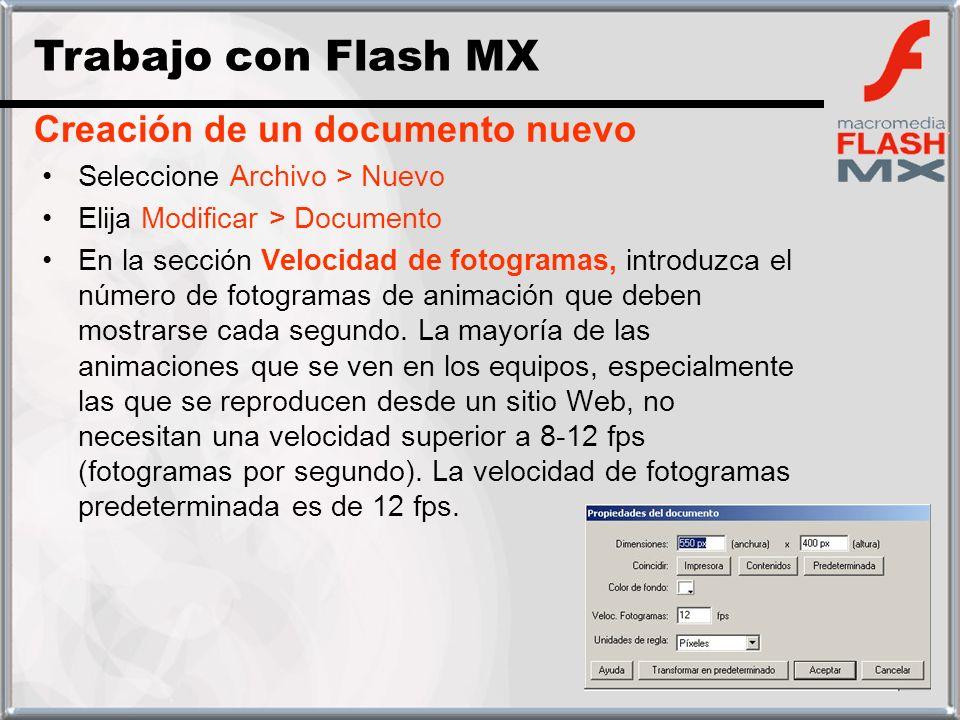 Seleccione Archivo > Nuevo Elija Modificar > Documento En la sección Velocidad de fotogramas, introduzca el número de fotogramas de animación que debe
