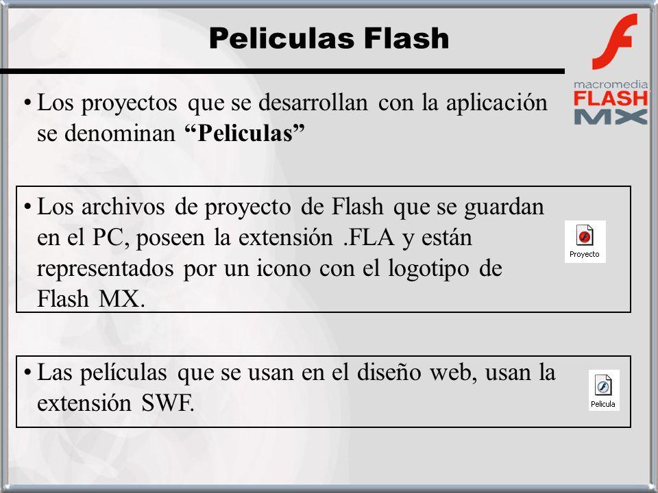 Los proyectos que se desarrollan con la aplicación se denominan Peliculas Los archivos de proyecto de Flash que se guardan en el PC, poseen la extensi