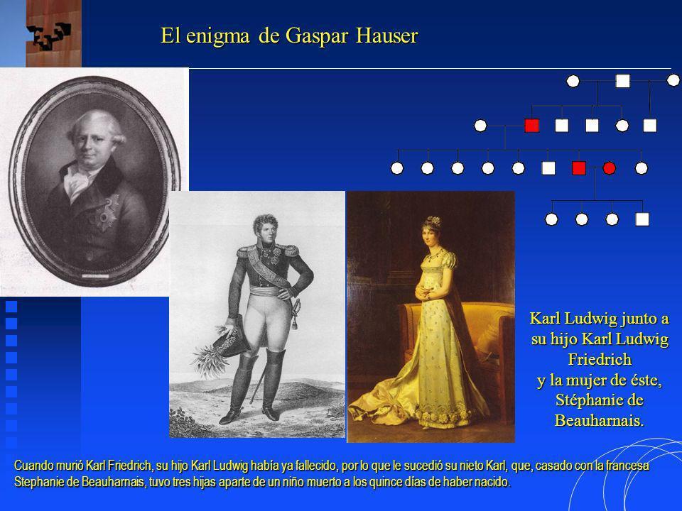 Ludwig I von Baden, tercer hijo de Karoline Luise von Hessen-Darmstadt y tercer Gran Duque de Baden El enigma de Gaspar Hauser Por no tener descendencia masculina, a Karl le heredó su tío Ludwig, quien carecía de descendencia.