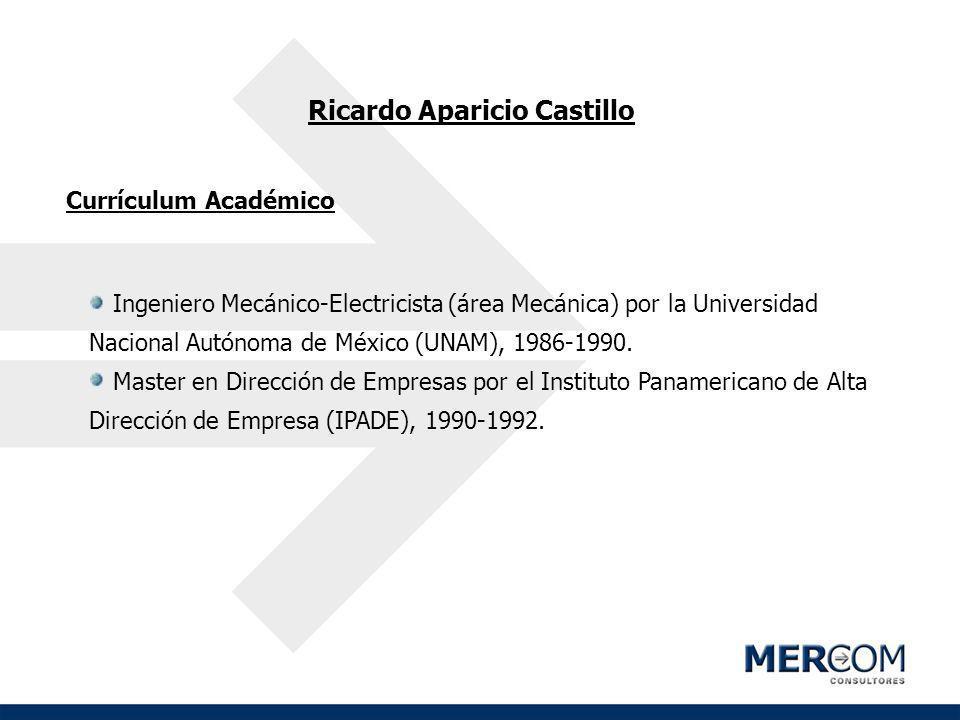 Ricardo Aparicio Castillo Currículum Académico Ingeniero Mecánico-Electricista (área Mecánica) por la Universidad Nacional Autónoma de México (UNAM),