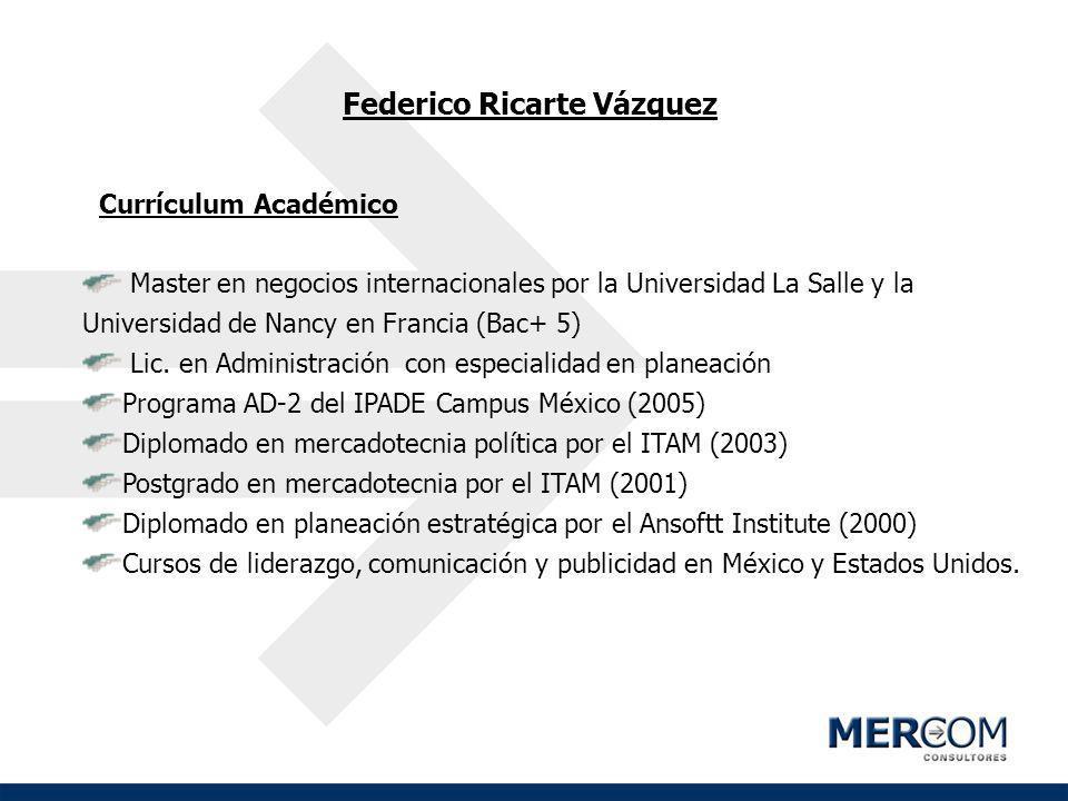 Federico Ricarte Vázquez Currículum Académico Master en negocios internacionales por la Universidad La Salle y la Universidad de Nancy en Francia (Bac
