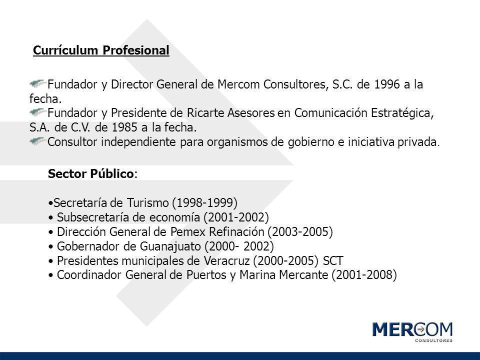 Currículum Profesional Fundador y Director General de Mercom Consultores, S.C. de 1996 a la fecha. Fundador y Presidente de Ricarte Asesores en Comuni