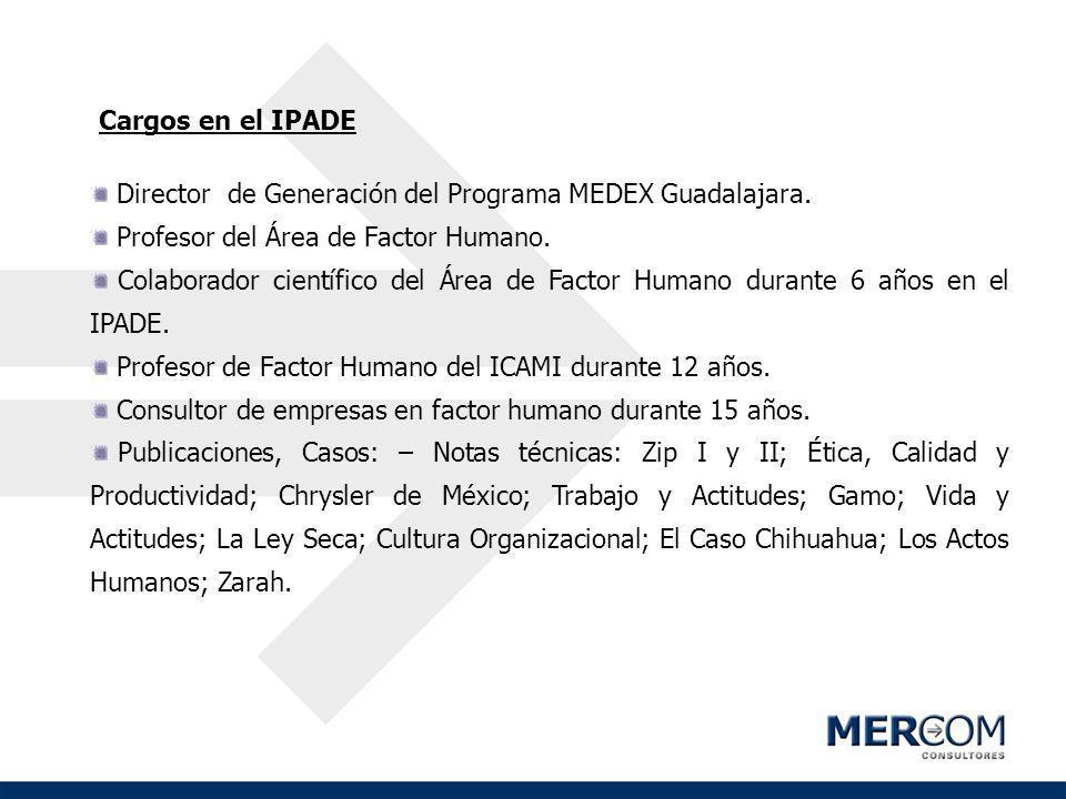 Cargos en el IPADE Director de Generación del Programa MEDEX Guadalajara. Profesor del Área de Factor Humano. Colaborador científico del Área de Facto