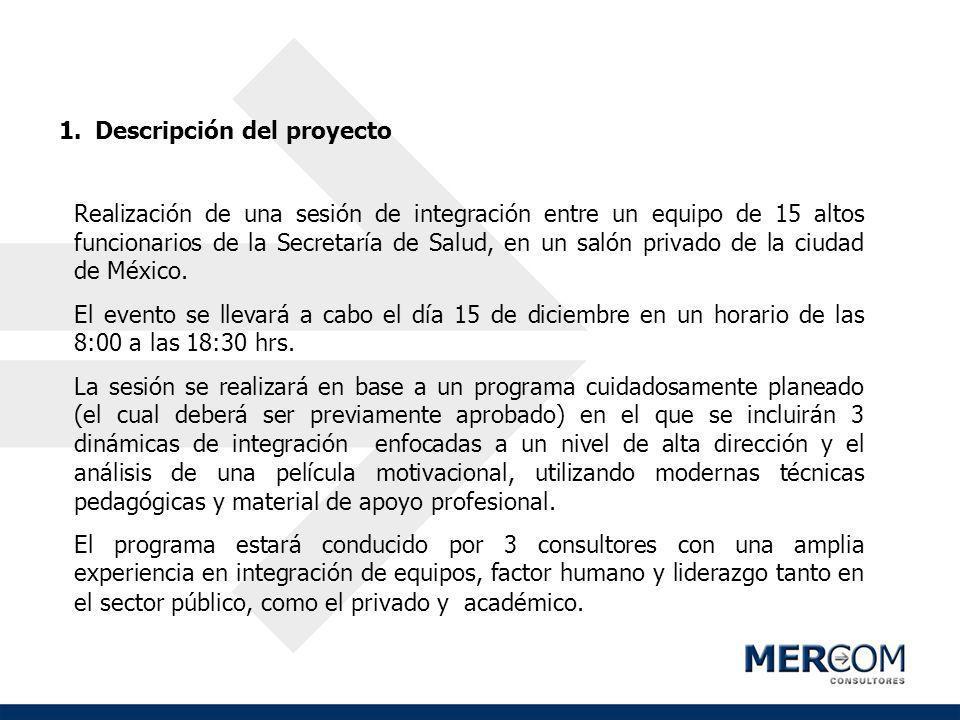 1.Descripción del proyecto Realización de una sesión de integración entre un equipo de 15 altos funcionarios de la Secretaría de Salud, en un salón pr