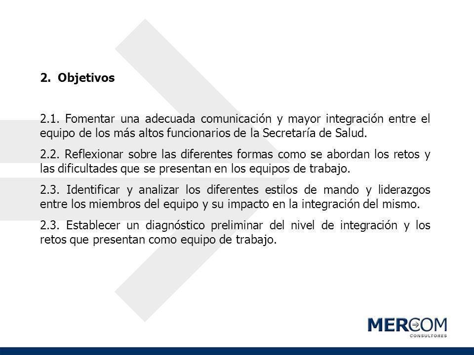 2.Objetivos 2.1. Fomentar una adecuada comunicación y mayor integración entre el equipo de los más altos funcionarios de la Secretaría de Salud. 2.2.