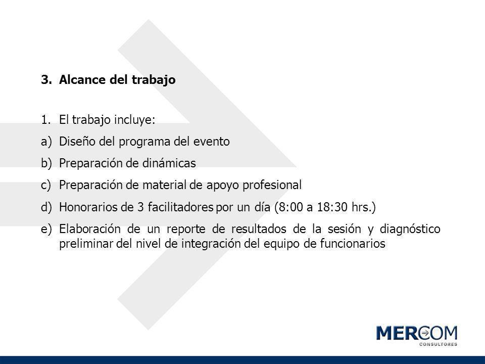3.Alcance del trabajo 1.El trabajo incluye: a)Diseño del programa del evento b)Preparación de dinámicas c)Preparación de material de apoyo profesional