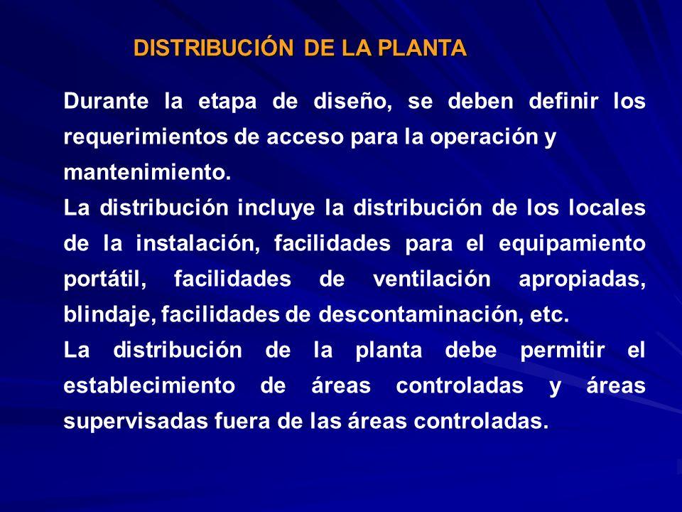 DISTRIBUCIÓN DE LA PLANTA Durante la etapa de diseño, se deben definir los requerimientos de acceso para la operación y mantenimiento. La distribución