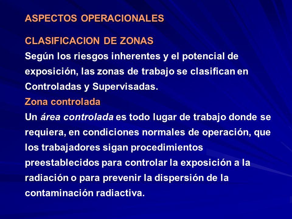 CLASIFICACION DE ZONAS Según los riesgos inherentes y el potencial de exposición, las zonas de trabajo se clasifican en Controladas y Supervisadas. Zo