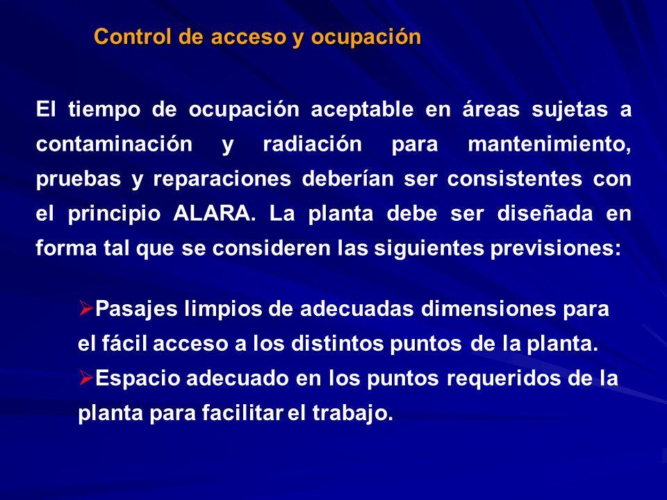 Control de acceso y ocupación El tiempo de ocupación aceptable en áreas sujetas a contaminación y radiación para mantenimiento, pruebas y reparaciones
