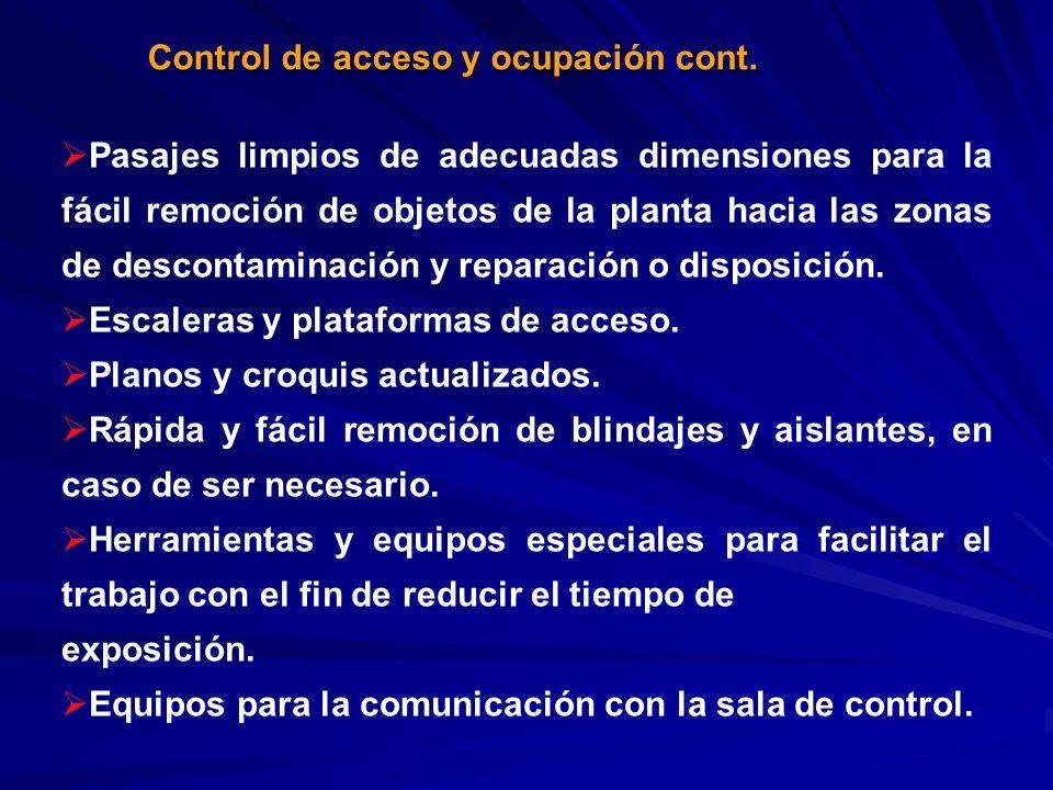 Control de acceso y ocupación cont. Pasajes limpios de adecuadas dimensiones para la fácil remoción de objetos de la planta hacia las zonas de descont
