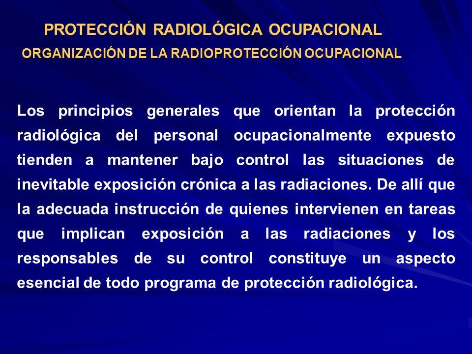 PROTECCIÓN RADIOLÓGICA OCUPACIONAL ORGANIZACIÓN DE LA RADIOPROTECCIÓN OCUPACIONAL Los principios generales que orientan la protección radiológica del