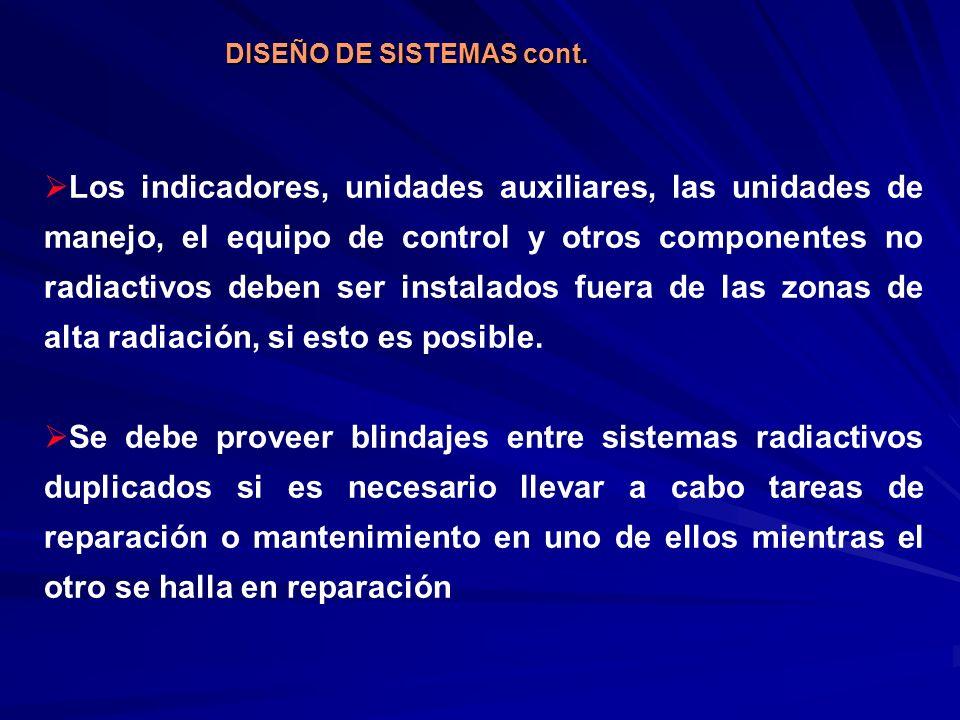 Los indicadores, unidades auxiliares, las unidades de manejo, el equipo de control y otros componentes no radiactivos deben ser instalados fuera de la