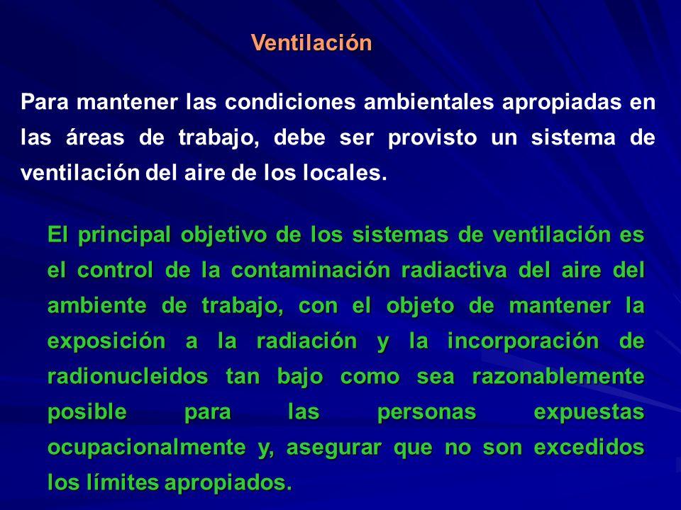 Ventilación Para mantener las condiciones ambientales apropiadas en las áreas de trabajo, debe ser provisto un sistema de ventilación del aire de los