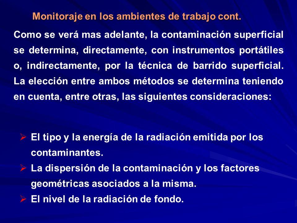 Como se verá mas adelante, la contaminación superficial se determina, directamente, con instrumentos portátiles o, indirectamente, por la técnica de b