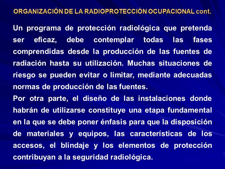 Un programa de protección radiológica que pretenda ser eficaz, debe contemplar todas las fases comprendidas desde la producción de las fuentes de radi