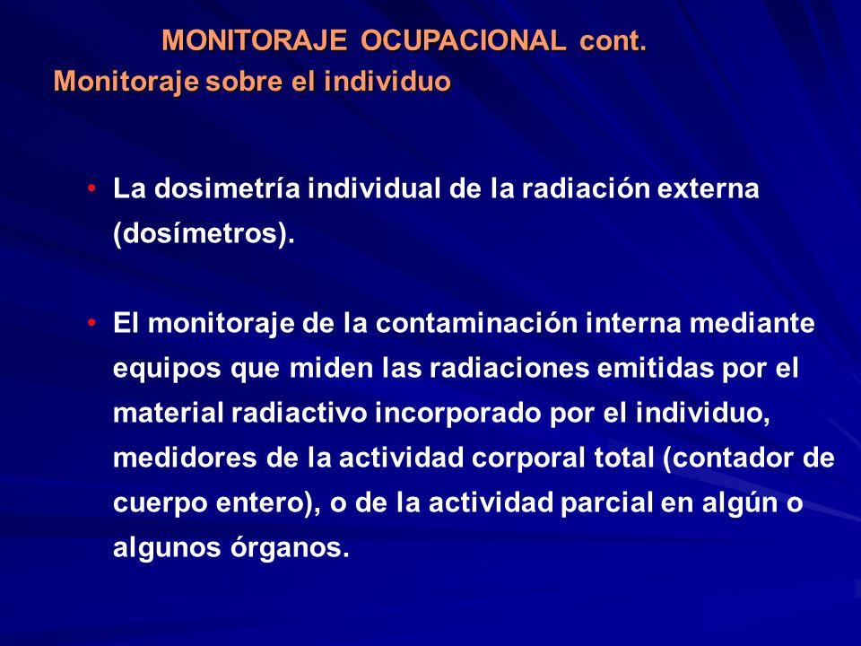 La dosimetría individual de la radiación externa (dosímetros). El monitoraje de la contaminación interna mediante equipos que miden las radiaciones em