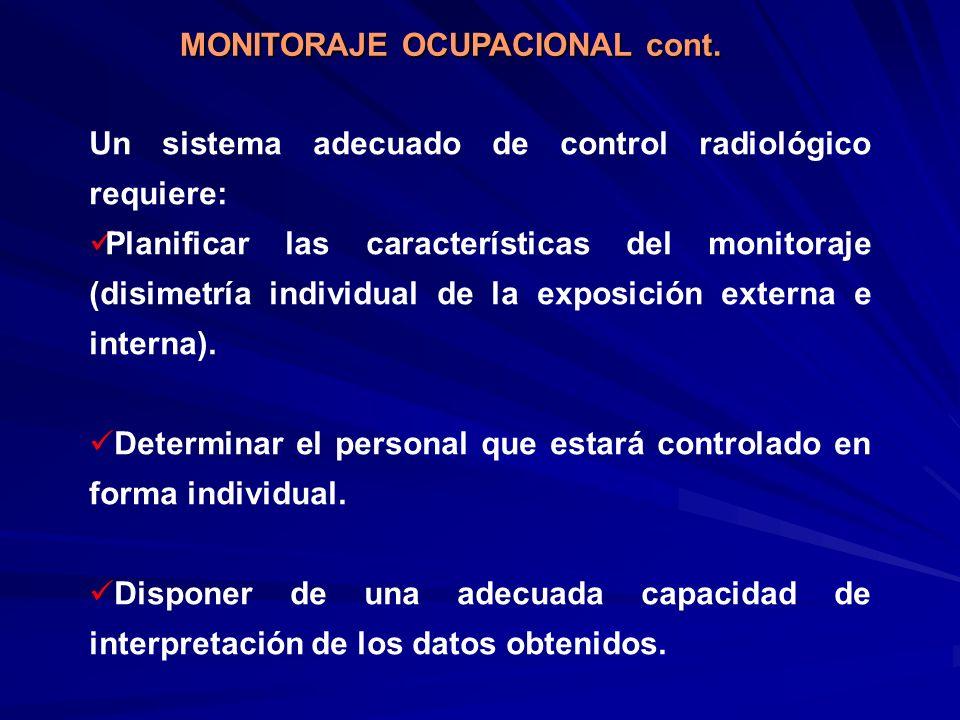 Un sistema adecuado de control radiológico requiere: Planificar las características del monitoraje (disimetría individual de la exposición externa e i