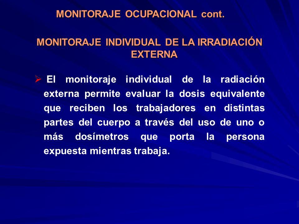 MONITORAJE INDIVIDUAL DE LA IRRADIACIÓN EXTERNA El monitoraje individual de la radiación externa permite evaluar la dosis equivalente que reciben los