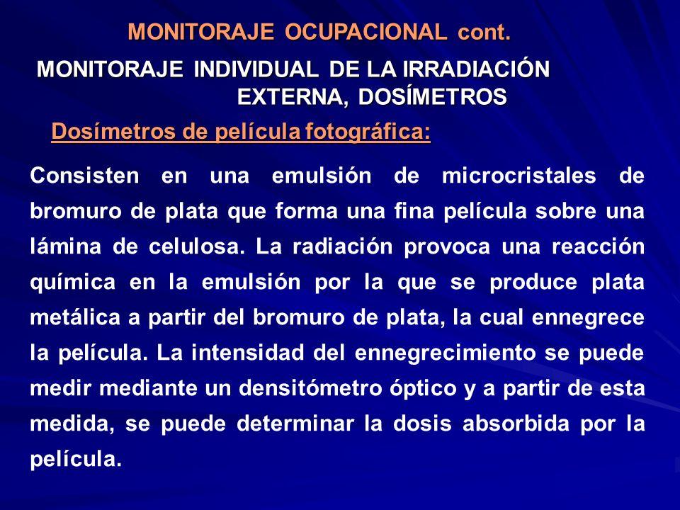 MONITORAJE INDIVIDUAL DE LA IRRADIACIÓN EXTERNA, DOSÍMETROS Dosímetros de película fotográfica: Consisten en una emulsión de microcristales de bromuro