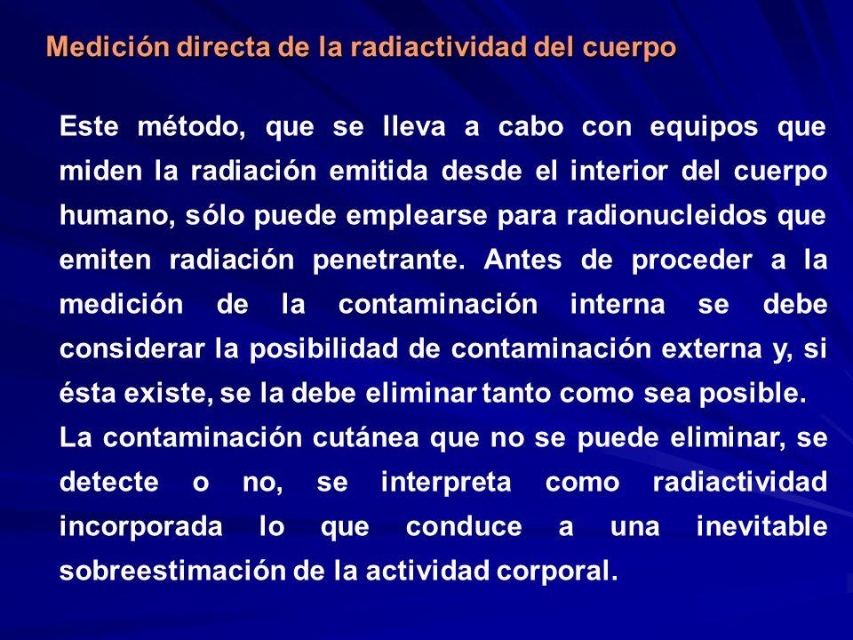 Medición directa de la radiactividad del cuerpo Este método, que se lleva a cabo con equipos que miden la radiación emitida desde el interior del cuer