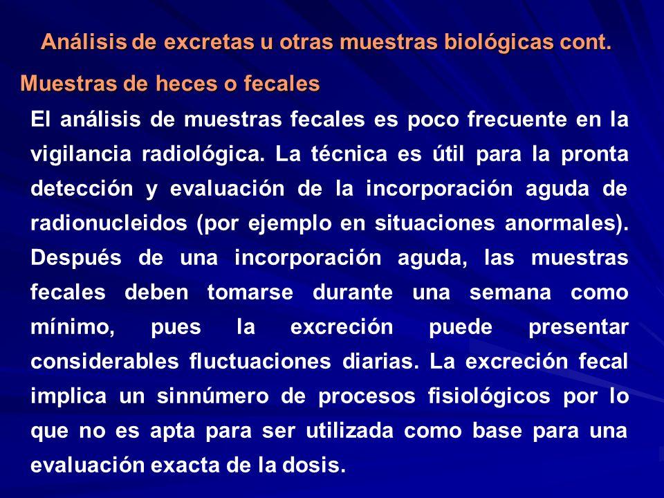 Muestras de heces o fecales Análisis de excretas u otras muestras biológicas cont. El análisis de muestras fecales es poco frecuente en la vigilancia