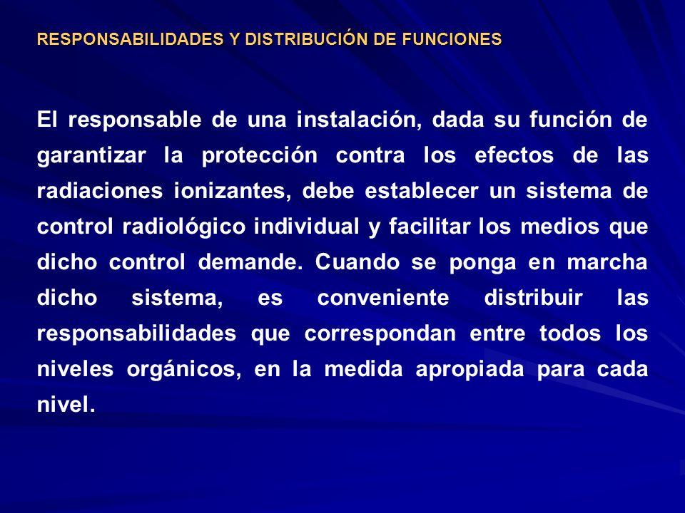 RESPONSABILIDADES Y DISTRIBUCIÓN DE FUNCIONES El responsable de una instalación, dada su función de garantizar la protección contra los efectos de las