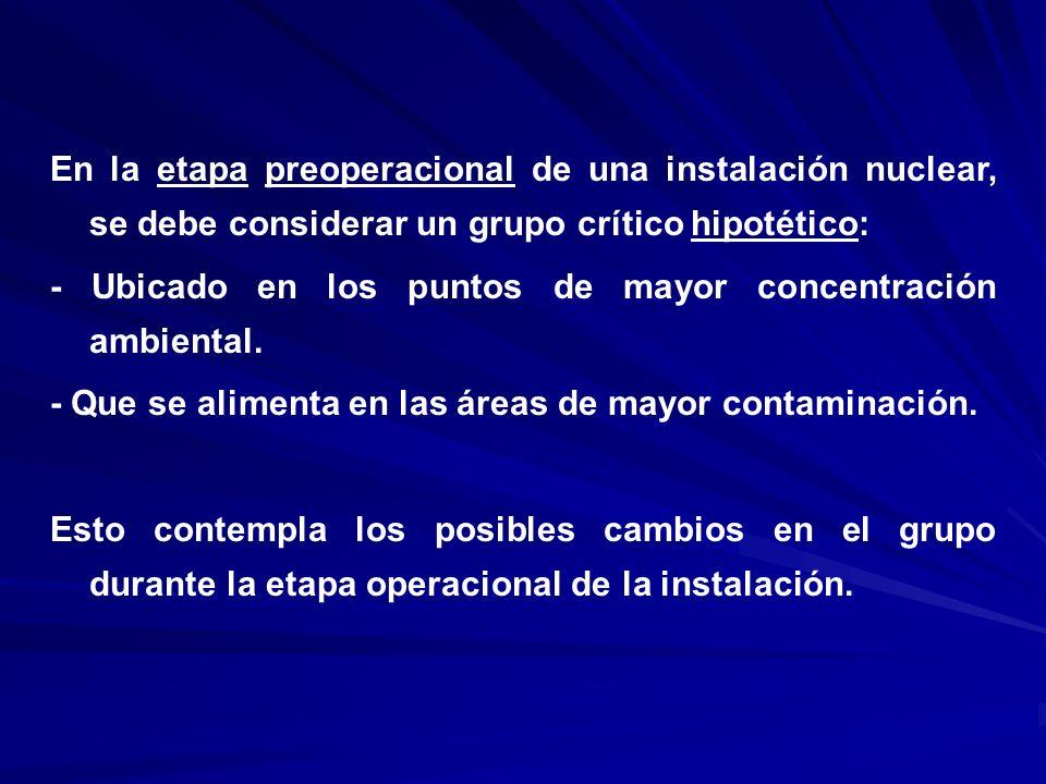En la etapa preoperacional de una instalación nuclear, se debe considerar un grupo crítico hipotético: - Ubicado en los puntos de mayor concentración