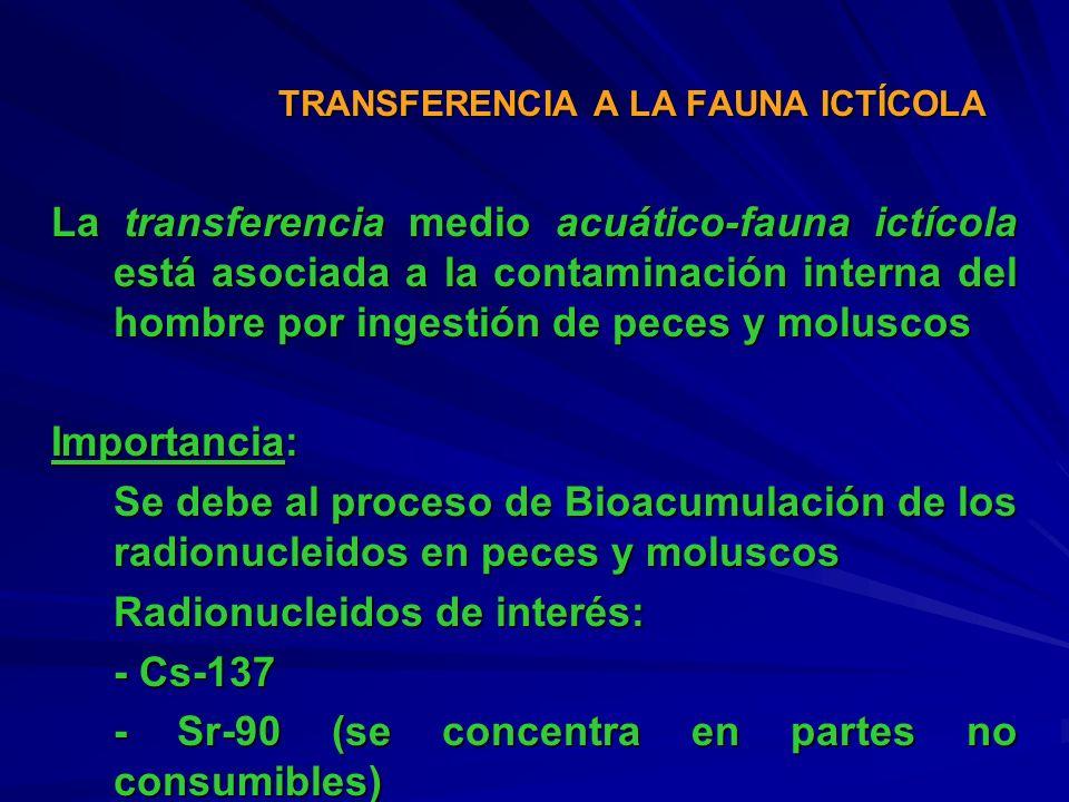 La transferencia medio acuático-fauna ictícola está asociada a la contaminación interna del hombre por ingestión de peces y moluscos Importancia: Se d