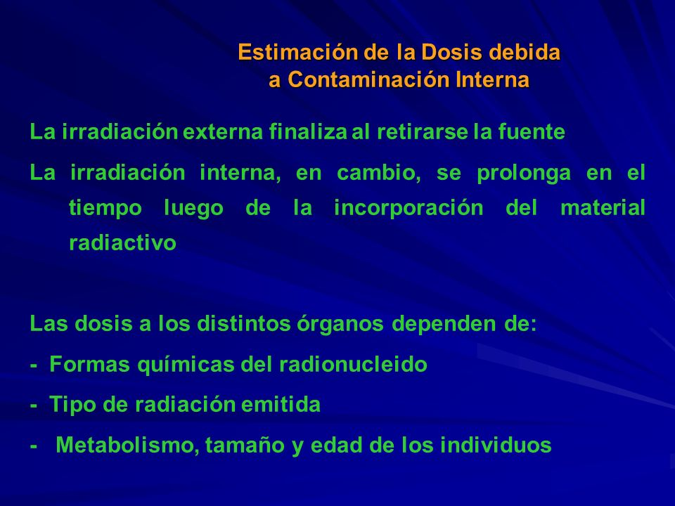 La irradiación externa finaliza al retirarse la fuente La irradiación interna, en cambio, se prolonga en el tiempo luego de la incorporación del mater