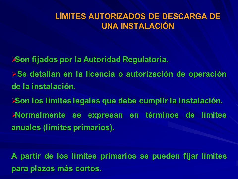 LÍMITES AUTORIZADOS DE DESCARGA DE UNA INSTALACIÓN Son fijados por la Autoridad Regulatoria. Son fijados por la Autoridad Regulatoria. Se detallan en