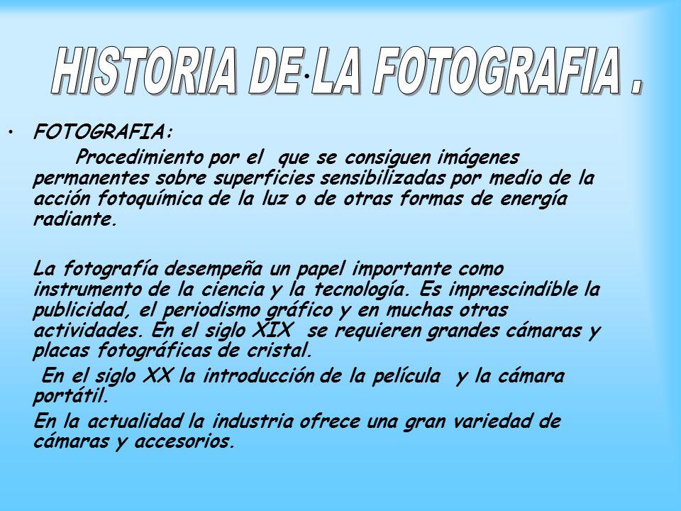 . FOTOGRAFIA: Procedimiento por el que se consiguen imágenes permanentes sobre superficies sensibilizadas por medio de la acción fotoquímica de la luz