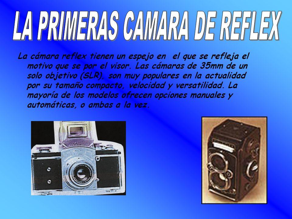 La cámara reflex tienen un espejo en el que se refleja el motivo que se por el visor. Las cámaras de 35mm de un solo objetivo (SLR), son muy populares