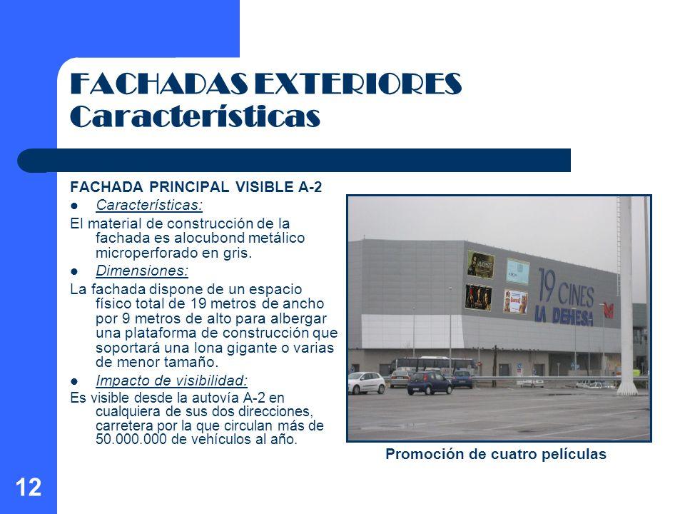 12 FACHADAS EXTERIORES Características FACHADA PRINCIPAL VISIBLE A-2 Características: El material de construcción de la fachada es alocubond metálico