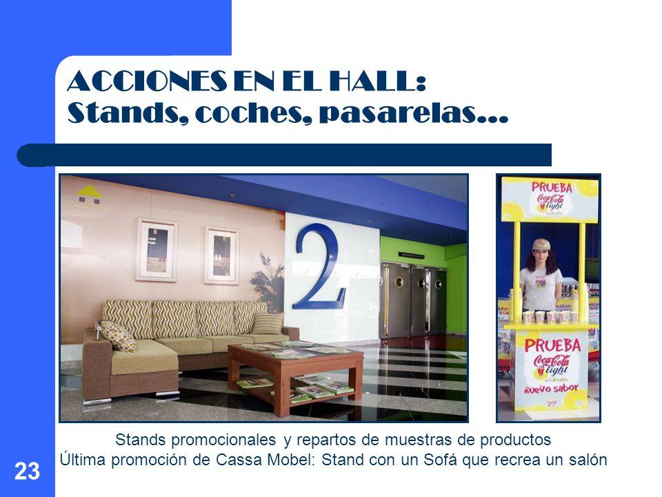 23 ACCIONES EN EL HALL: Stands, coches, pasarelas… Stands promocionales y repartos de muestras de productos Última promoción de Cassa Mobel: Stand con