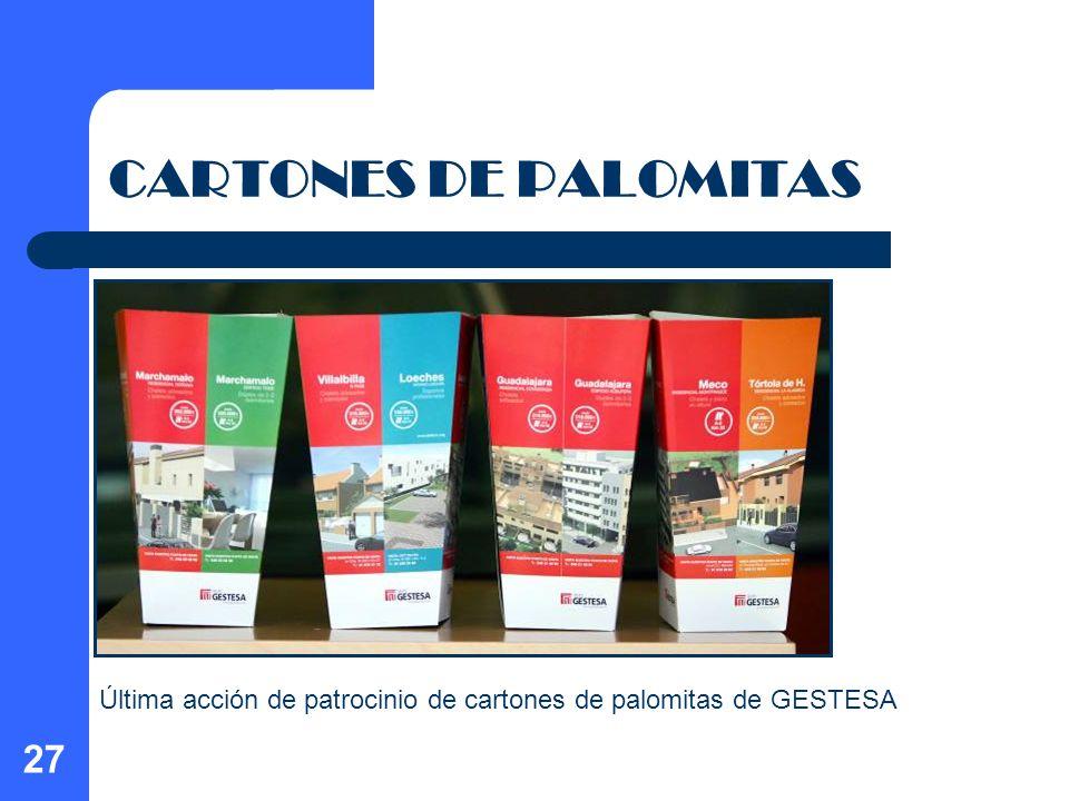 27 CARTONES DE PALOMITAS Última acción de patrocinio de cartones de palomitas de GESTESA