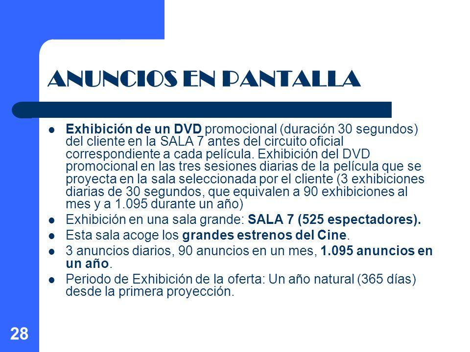 28 ANUNCIOS EN PANTALLA Exhibición de un DVD promocional (duración 30 segundos) del cliente en la SALA 7 antes del circuito oficial correspondiente a