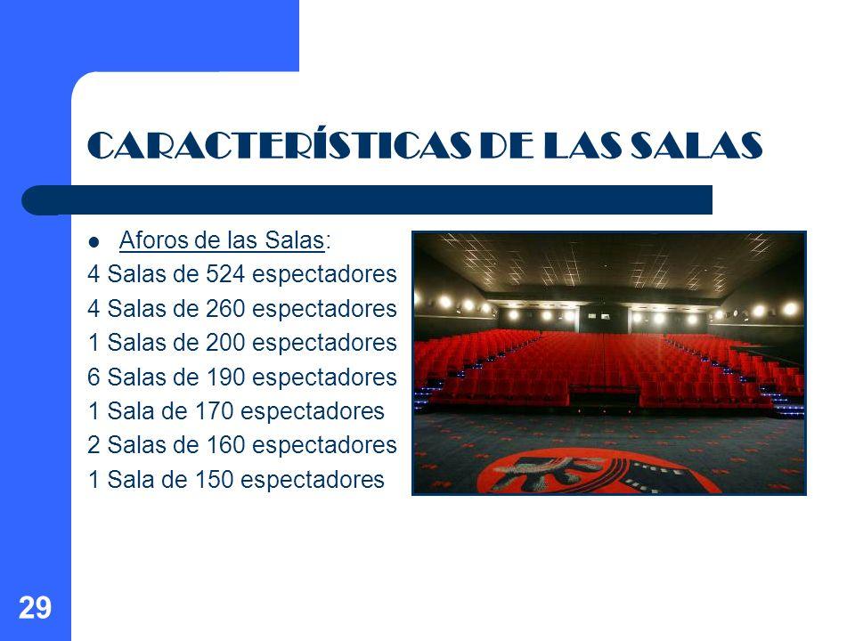 29 CARACTERÍSTICAS DE LAS SALAS Aforos de las Salas: 4 Salas de 524 espectadores 4 Salas de 260 espectadores 1 Salas de 200 espectadores 6 Salas de 19